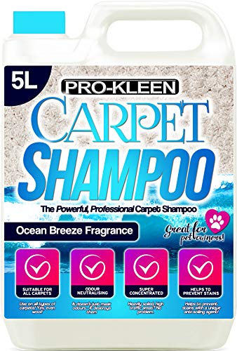 5L of Pro-Kleen x Mylek Ultima+ Professional Carpet & Upholstery Shampoo – Ocean Fresh Fragrance - High Concentrate Cleaning Solution - Suitable For All Machines from Pro-Kleen