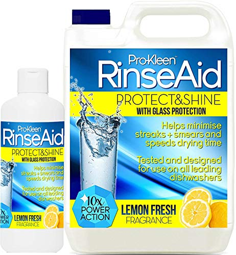 Pro-Kleen Rinse Aid (5L + 500ml) - Lemon Fresh - Protect & Shine With Added Glass Protection - For A Shinier, Drier Finish With Superior Spot & Film Protection - Designed And Tested For Use On All Leading Dishwashers from Pro-Kleen