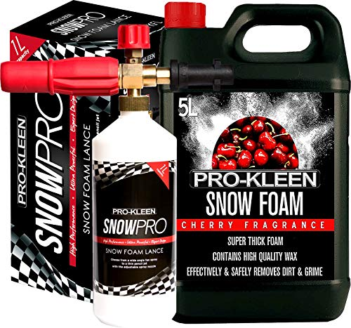 Pro-Kleen Snow Foam Lance / Gun Kit with 5L Cherry Snow Foam For Use With Karcher K Series Pressure Washers (K2 / K3 / K4 / K5 / K6 / K7) 1L Capacity High Quality Manufacturing with Italian Components Fully Adjustable Chemical Dial & Variable Spray Nozzle Easy To Use Instruction Manual Provided Powerful, Heavy Duty, Foamer / Sprayer for Car Washing / Cleaning (5 Litre Pack) from Pro-Kleen