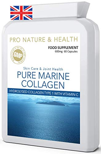 Pure Marine Collagen | 600mg x 60 Capsules | Premium Hydrolysed Marine Collagen Type 1 With Vitamin C | Manufactured In The UK To GMP Code Of Practice And ISO 9001 Quality Assurance Certification from Pro Nature & Health