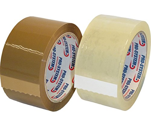 PRO SYSTEM 25002 Polypropylene 28 Standard Easy Colour Catching Packing Tape, 50 mm Wide Length Of 66 m transparent (Pack of 36) from Pro-System