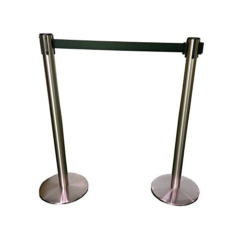 Pro²Tect Guidance System GUID-M-SS, Set of 2 belt posts, Tape Barrier Posts, Crowd Control, Security Fence, Delineator, Queue Pole Barrier, height: 97 cm, retractable belt length: 2 m, stainless steel from Pro²Tect