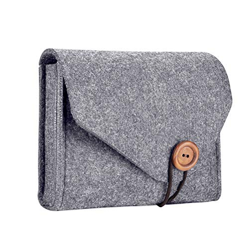 ProCase Portable Felt Tech Bag Organizer Pouch Case for Accessories (MacBook Magic Mouse, Power Adapter,Charger, USB Cable,Hard Drive, Power Bank etc) -Grey from Procase