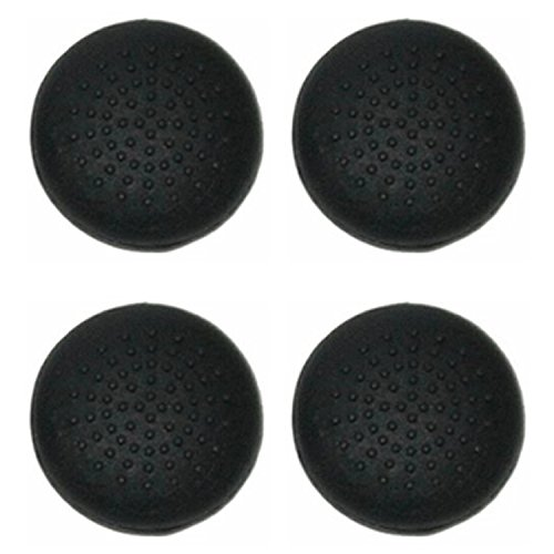 4x Assecure convex dotted black silicone thumbstick grips for PS3 or X360 controller thumb stick caps from Assecure