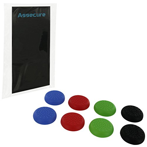 8 x Assecure TPU protective analogue thumb grip stick caps for Sony PS4 controllers - Mixed colour mega pack from Assecure
