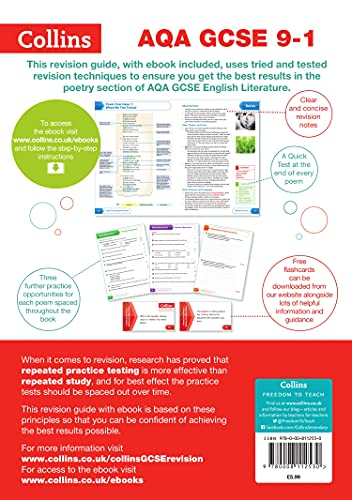 Grade 9-1 GCSE Poetry Anthology Love and Relationships AQA Revision Guide (with free flashcard download) (Collins GCSE 9-1 Revision) from Collins