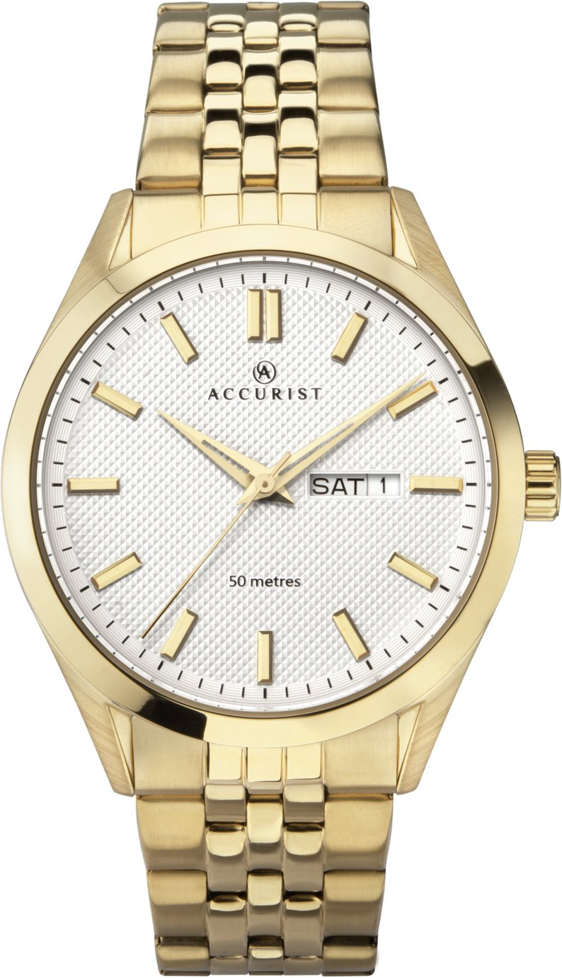 Accurist - Mens Gold Plated Day and Date Bracelet - Watch from Accurist