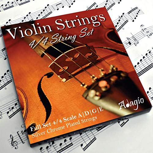 Adagio Pro - Violin Strings - 4/4 Classic Silver Violin String Set / Pack With Ball Ends For Concert Tuning from Adagio