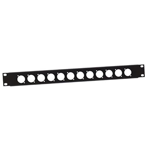 Adam Hall U-Shaped Rack Panel 1 U Steel for 12 D Type XLR from ah Cables
