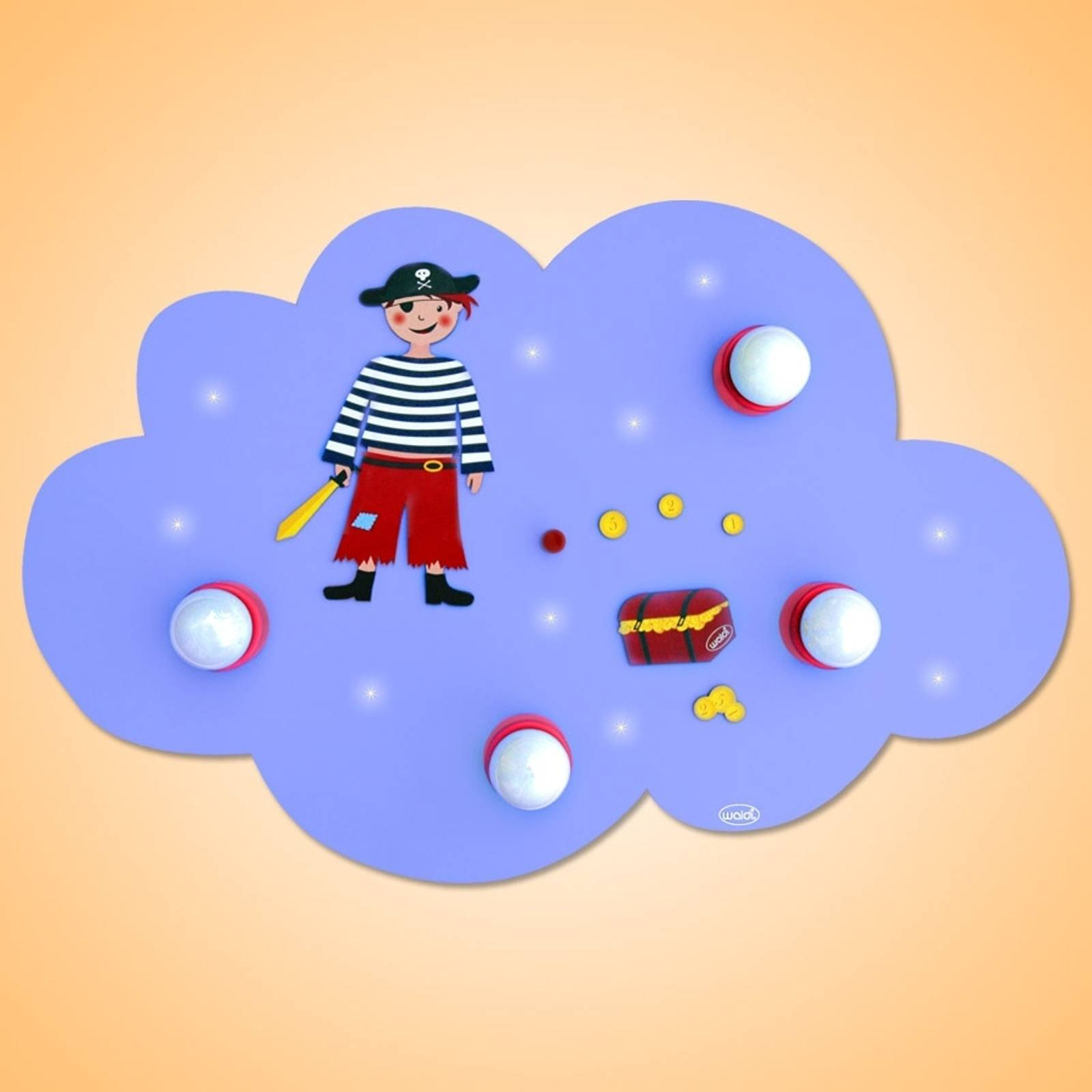 Adventurous Cloud Pirate ceiling light with LEDs from Waldi-Leuchten