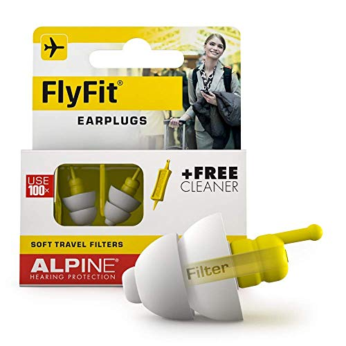 Alpine FlyFit Ear Plugs - Regulates air Pressure to Prevent Eardrum Pain - Soft Filters Designed for Travel - Comfortable Hypoallergenic Material - Reusable earplugs from Alpine