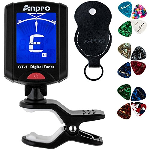 Anpro Clip on GT-1 Digital Tuner, 12 Pack Guitar Picks Include 0.46mm 0.71mm 0.96mm and 1 Pack Leather Key Chain Pick Holder For Guitar Ukulele Chromatic Violin from Anpro