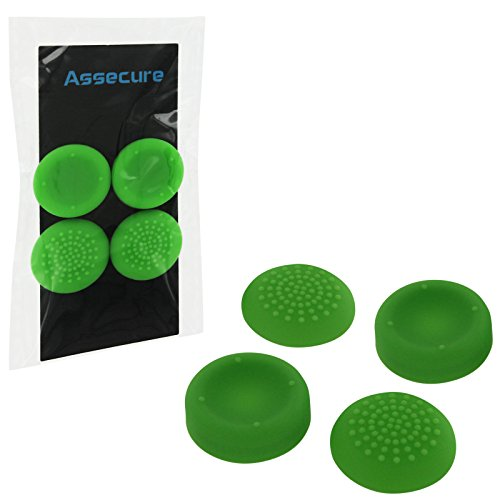 Assecure concave & convex soft silicone thumb grips for Sony PS4. Analogue thumb stick non slip grip caps for Playstation 4 controller, pack of 4 - Green from Assecure