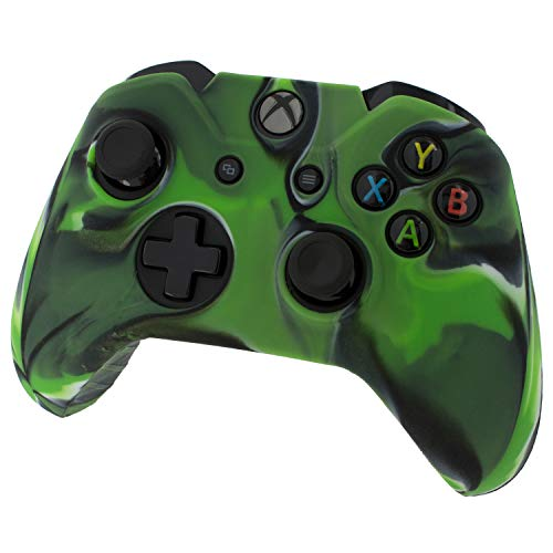 Assecure pro soft silicone skin grip protective cover for Microsoft Xbox One controller rubber bumper case with ribbed handle grip (Green Camouflage) from Assecure