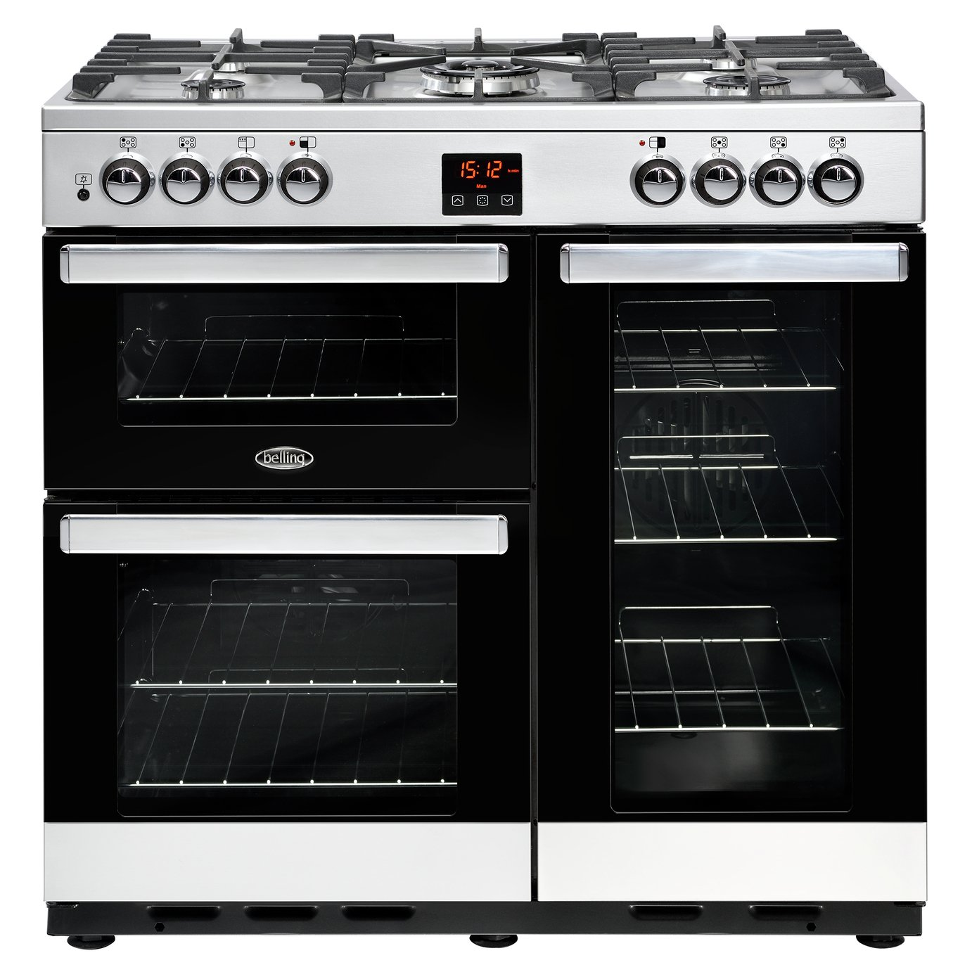 Belling Cookcentre 90DFT Dual Fuel Range Cooker S/ Steel & Black from Belling