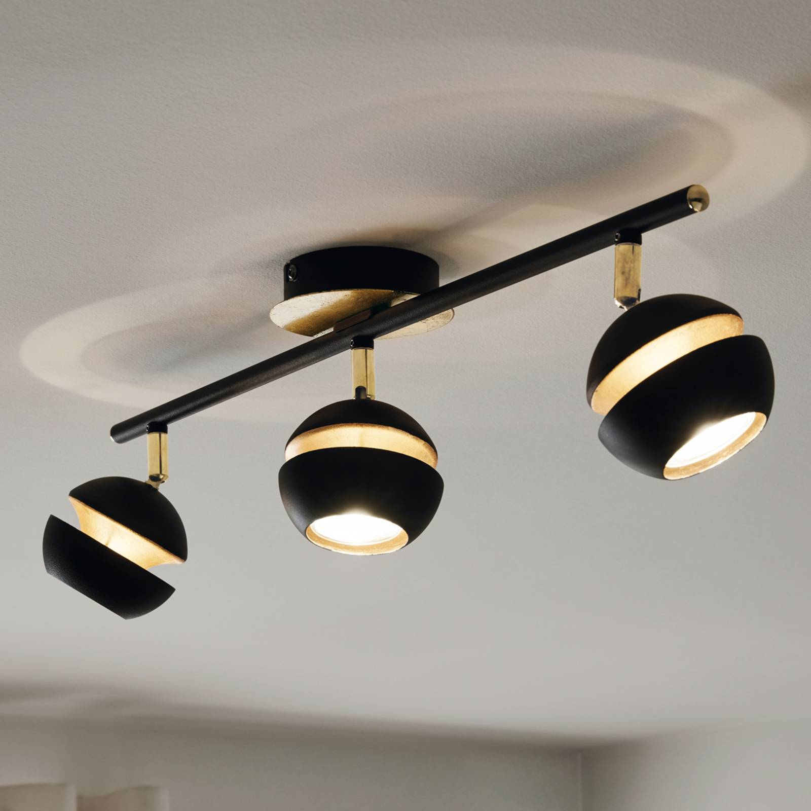 Black and gold 3-bulb Nocito LED ceiling lamp from EGLO
