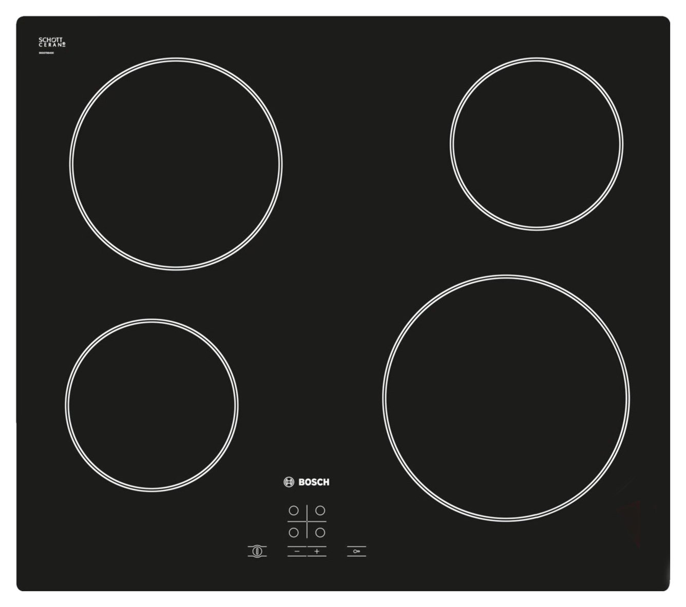 Bosch PKE611D17E 4 Zone Quick-Therm Hob - Black from Bosch