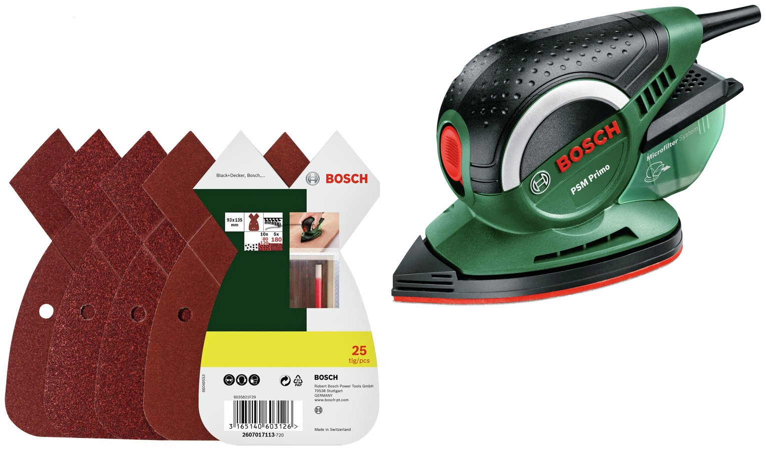 Bosch PSM Primo Detail Sander with 25 Sheets from Bosch