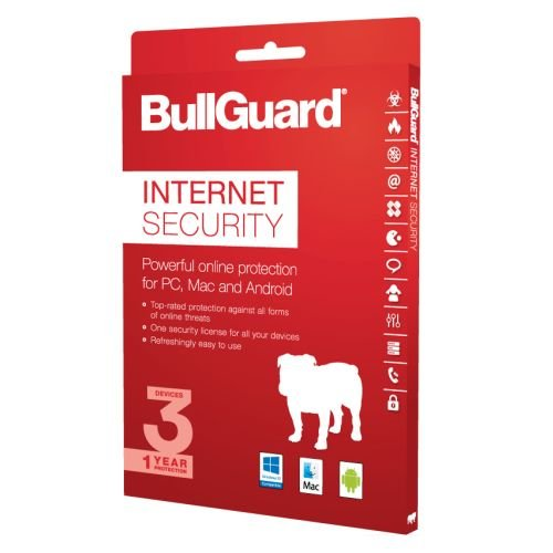 BullGuard Internet Security 2017 - 1 Year 3 Device License - Always Downloads Latest Edition - For All Windows, MAC and Android from Bullguard