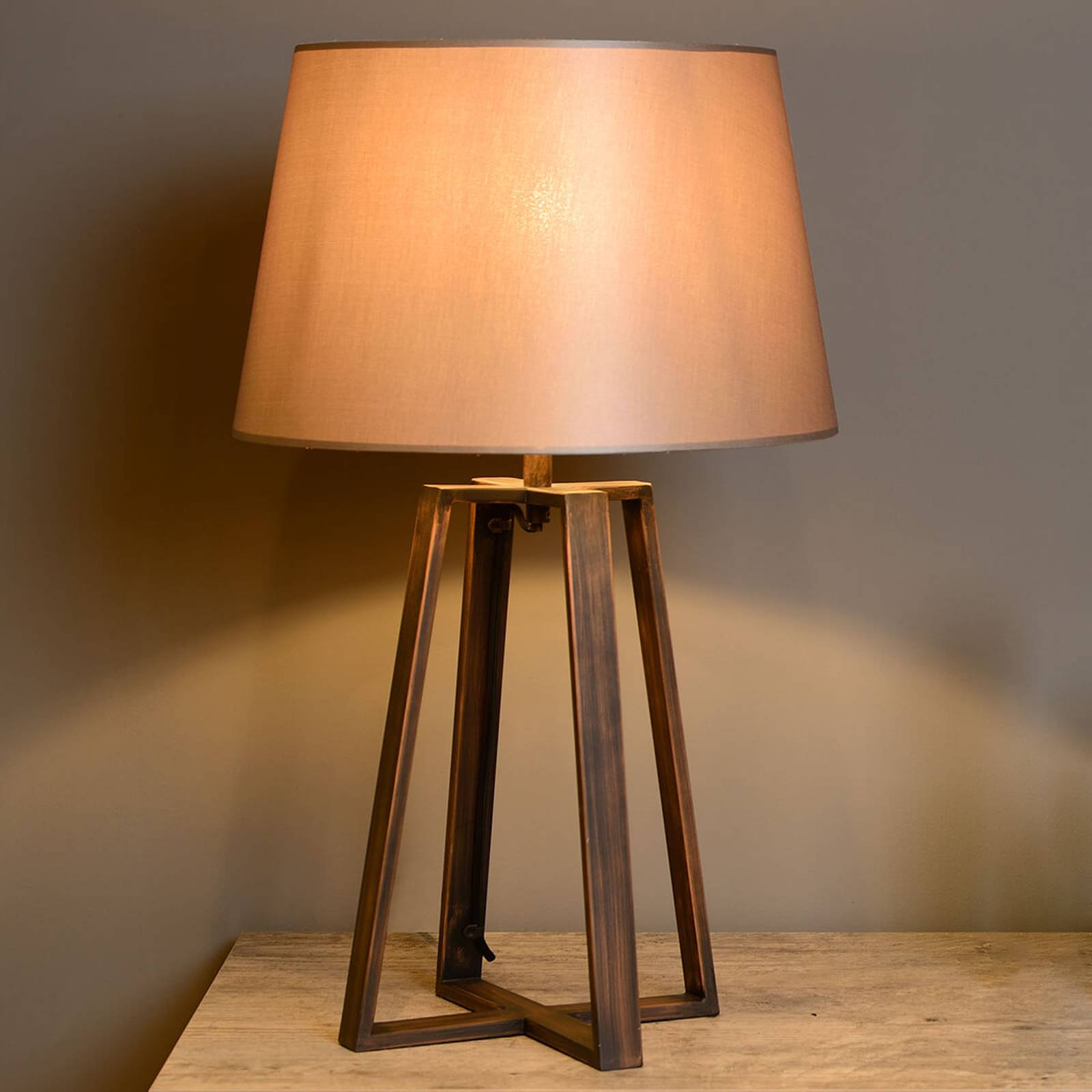 Coffee Lamp table lamp with brown fabric shade from LUCIDE