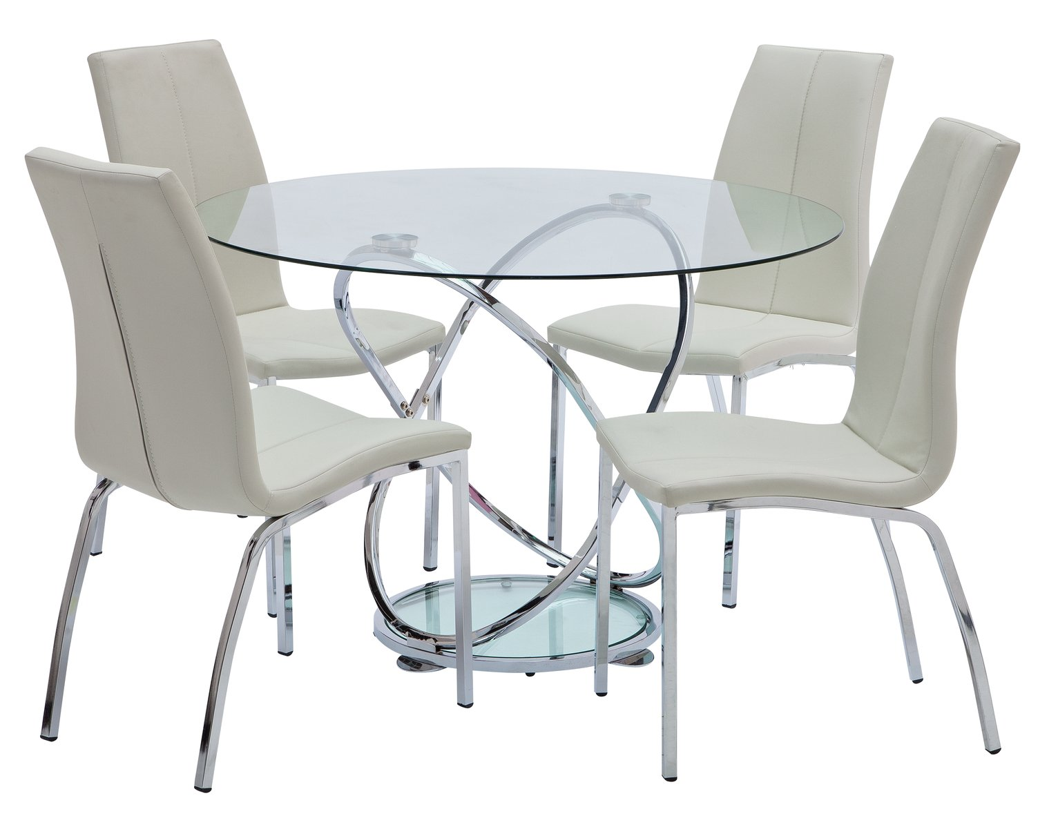 Collection Atom Round Glass Table & 4 Chairs - White from The Collection by Argos
