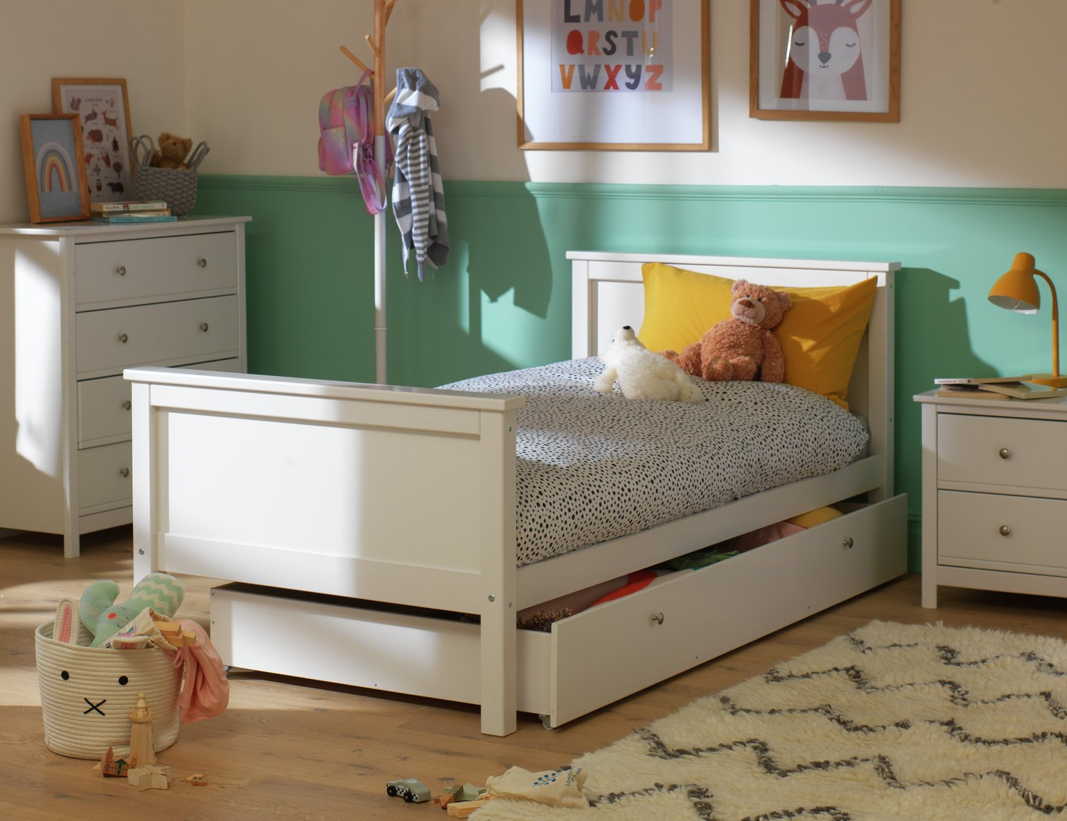 Collection Brooklyn Wooden Bed Frame with Drawer - White from The Collection by Argos
