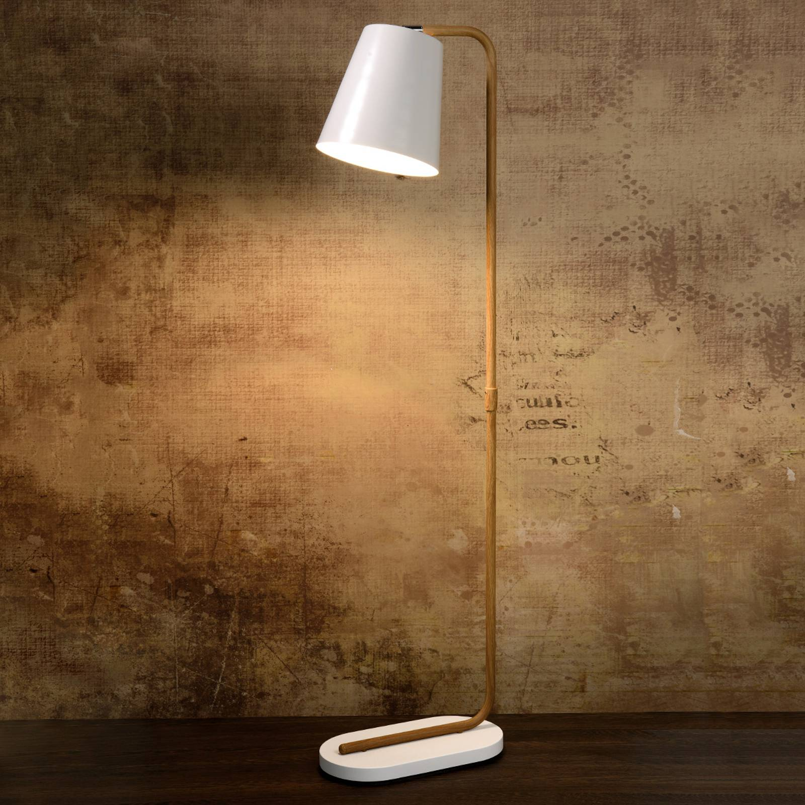 Cona floor lamp with white metal shade from Lucide