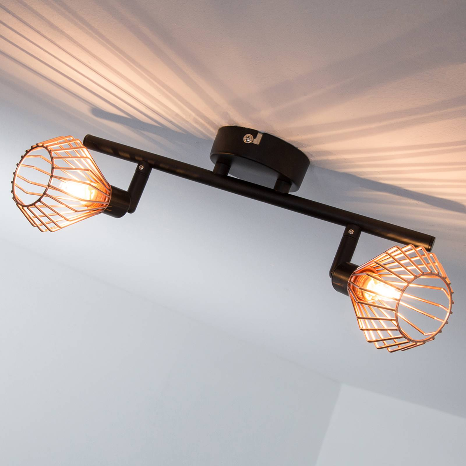 Copper-black ceiling light Dalma – 2-bulb from Brilliant