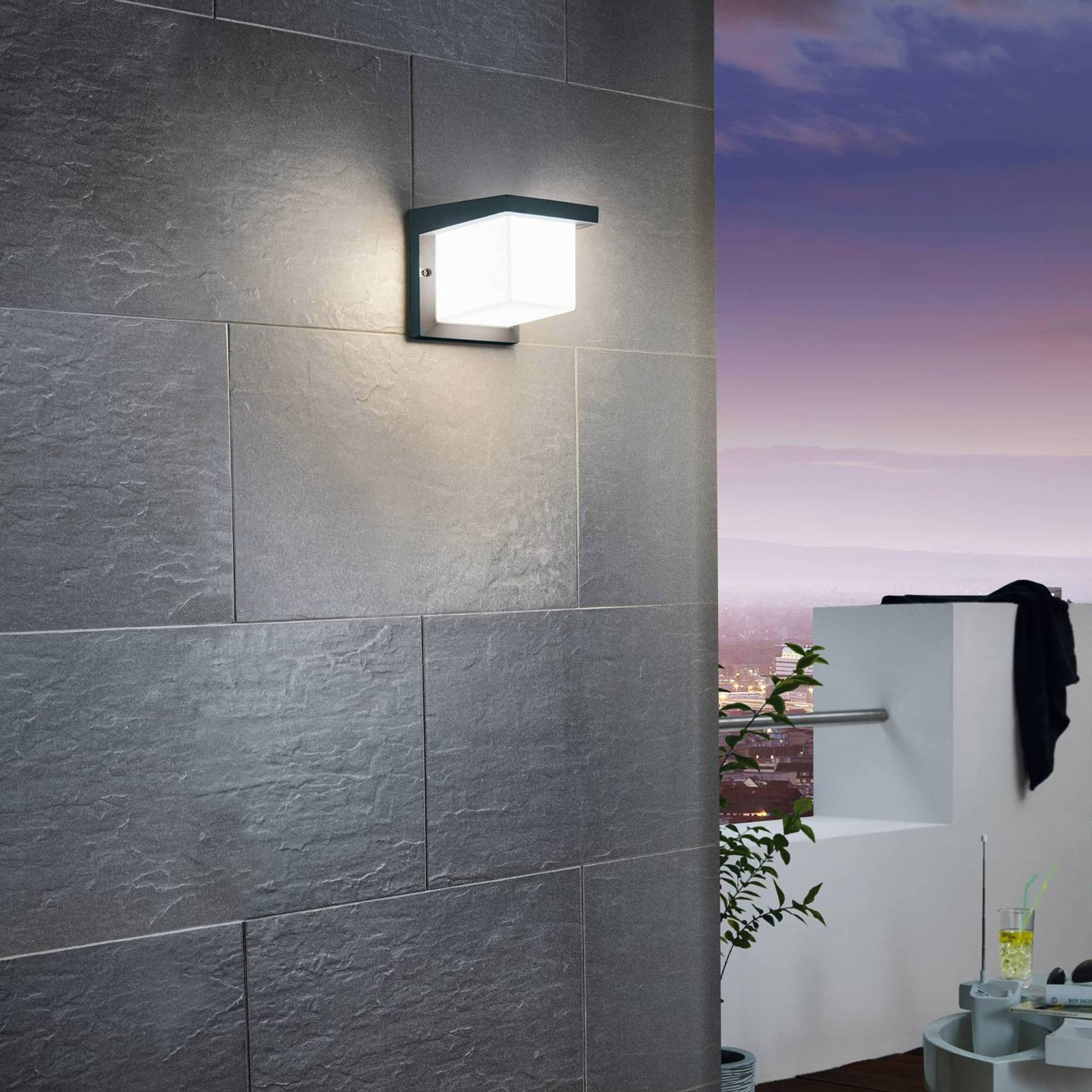Cube-shaped Desella LED outdoor wall light from EGLO