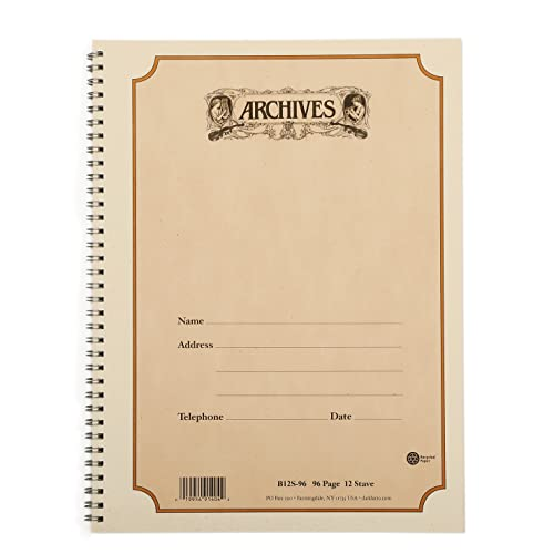 D'Addario Archives Spiral Bound Manuscript Paper Book (12 Stave, 96 Pages) from D'Addario