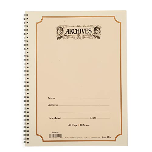 D'Addario B10S-48 48 Pages 10 Stave Archives Spiral Bound Manuscript Paper Book from D'Addario