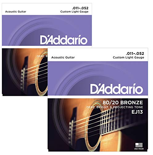D'Addario EJ13 80/20 Bronze Wound Acoustic Guitar Strings, Custom Light, 11-52 (2 Pack) from D'Addario