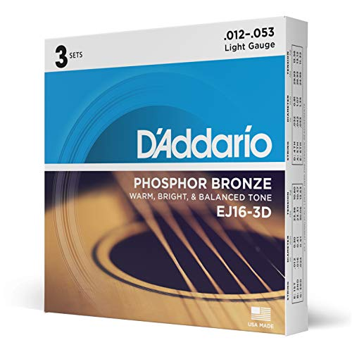 D'Addario EJ16-3D Phosphor Bronze Light  (.012-.053) Acoustic Guitar Strings 3-Pack from D'Addario