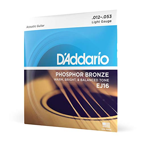 D'Addario EJ16 Phosphor Bronze Light (.012-.053) Acoustic Guitar Strings from D'Addario