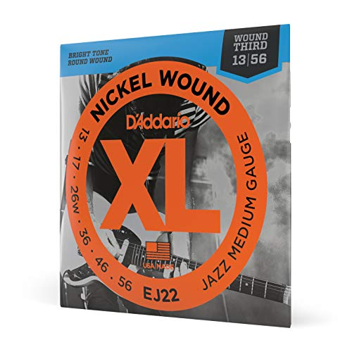 D'Addario EJ22 XL Nickel Wound Jazz Medium  (.013-.056) Wound 3rd Electric Guitar Strings from D'Addario