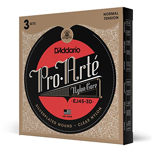 D'Addario EJ45-3D Pro-Arte Normal Classical Guitar Strings, 3 Pack from D'Addario