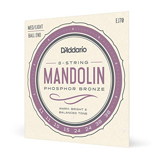 D'Addario EJ70 Phosphor Bronze Medium Light (.011-.038) Ball End Mandolin Strings from D'Addario