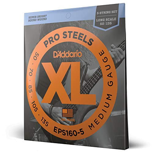 D'Addario EPS160-5 XL ProSteels Medium  (.050-.135) 5-String Electric Bass Guitar Strings from D'Addario