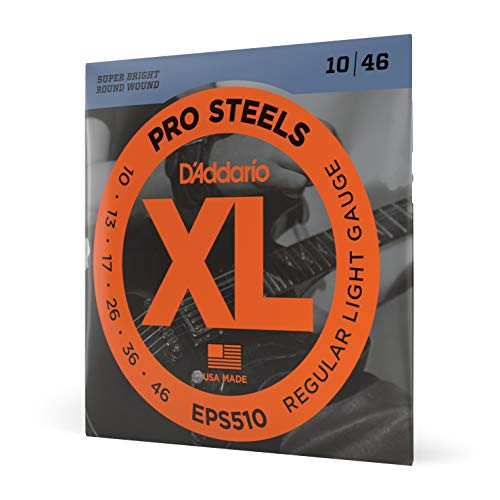 D'Addario EPS510 XL ProSteels Regular Light  (.010-.046) Electric Guitar Strings from D'Addario