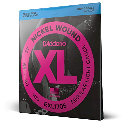D'Addario EXL170S XL Nickel Wound Regular Light  (.045-.100) Short Scale Electric Bass Guitar Strings from D'Addario