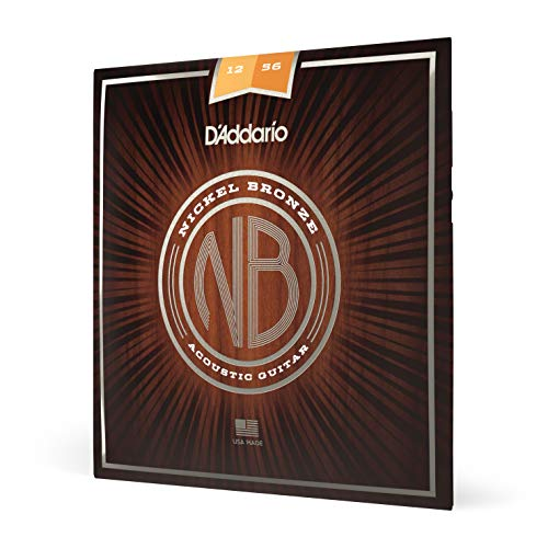 D'Addario NB1256 Nickel Bronze Acoustic Guitar Strings, Light Top/Medium Bottom from D'Addario