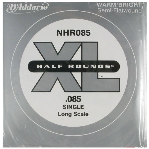 D'Addario NHR085 Half Round Bass Guitar Single String, Long Scale.085 from D'Addario