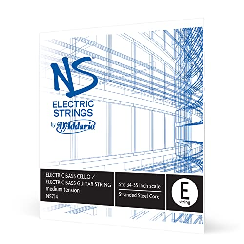 D'Addario NS Electric 4/4 Scale Medium Tension Single E String for Bass/Cello from D'Addario