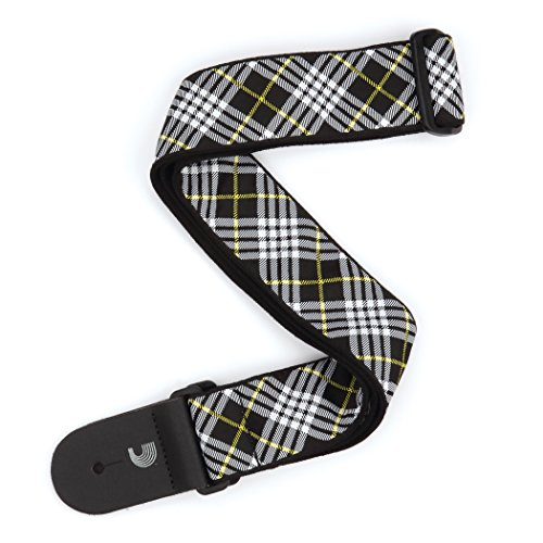 D'Addario T20W1503 Woven Guitar Strap, Tartan - Black/White/Yellow from Planet Waves