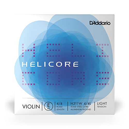 D'Addario Helicore Violin Single Aluminum Wound E String, 4/4 Scale, Light Tension from D'Addario
