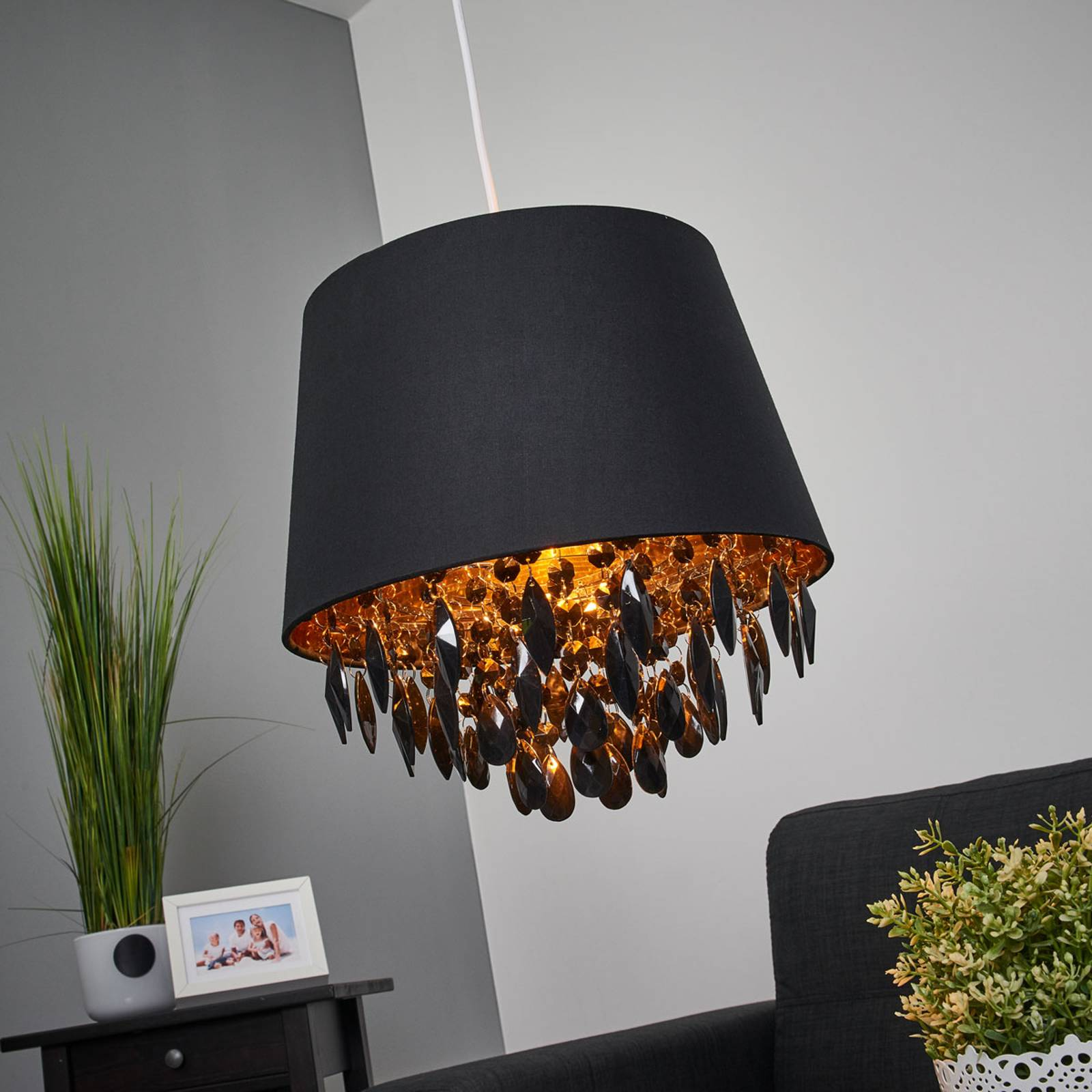 Dolti hanging light with black adornment from Lucide
