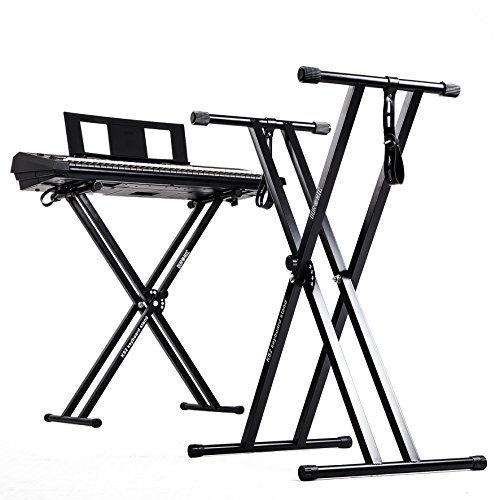 Duronic Keyboard Stand KS2B | Twin X Frame | Height Adjustable 33-98cm | Double Braced Legs for Digital Pianos | Quick-Pull Release | With Support Straps to Secure Keyboard | Holds up to 20kg from Duronic
