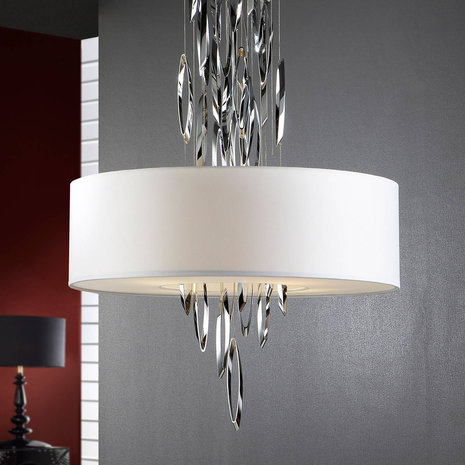 Elegant hanging light Domo with chrome elements from SCHULLER