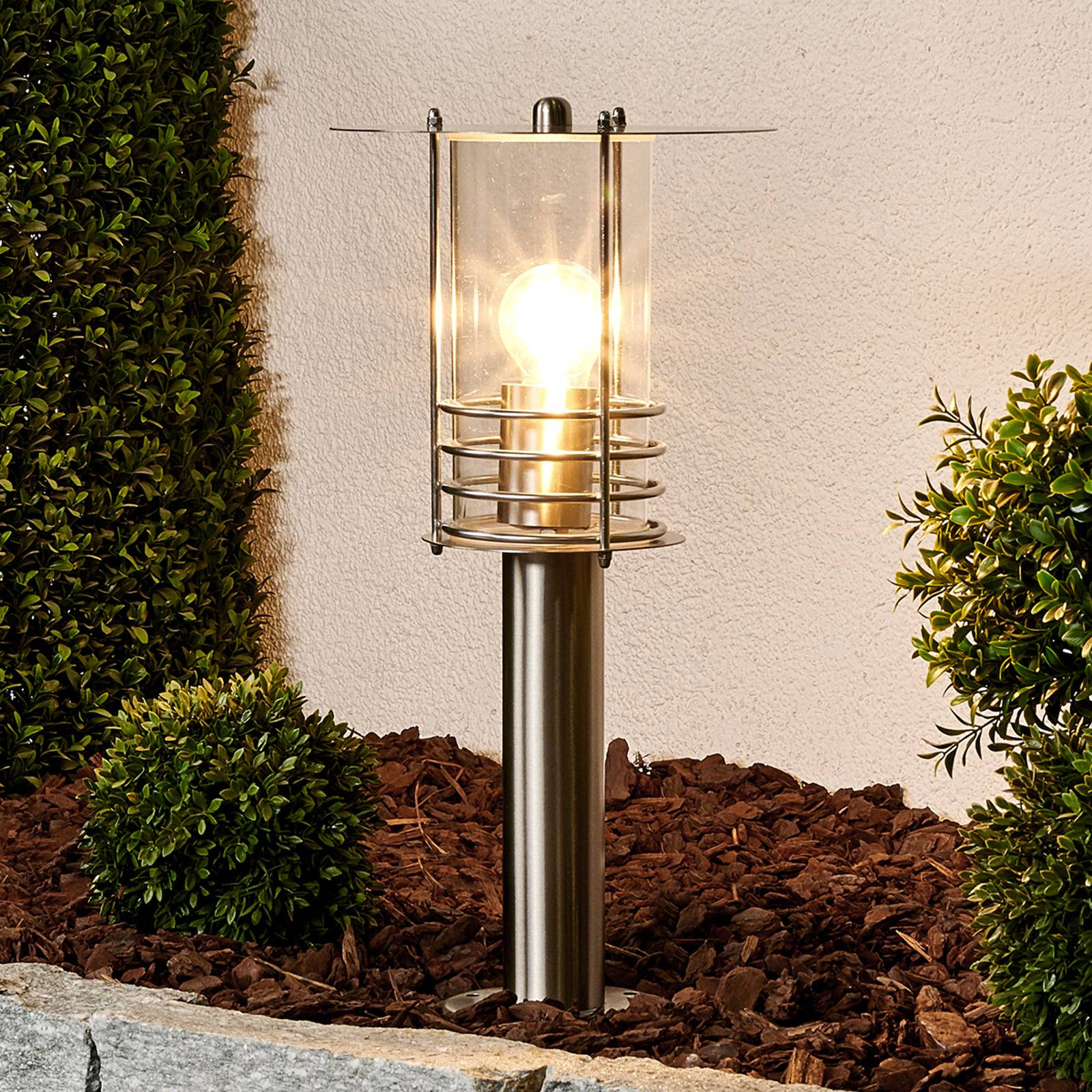 Elegant stainless steel pillar lamp Miko from Lindby