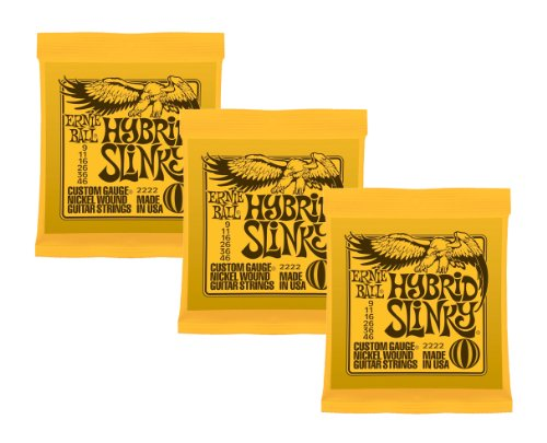 Ernie Ball Hybrid Slinky Nickel Wound Sets, .009 - .046, Bundle of 3 Sets from Ernie Ball